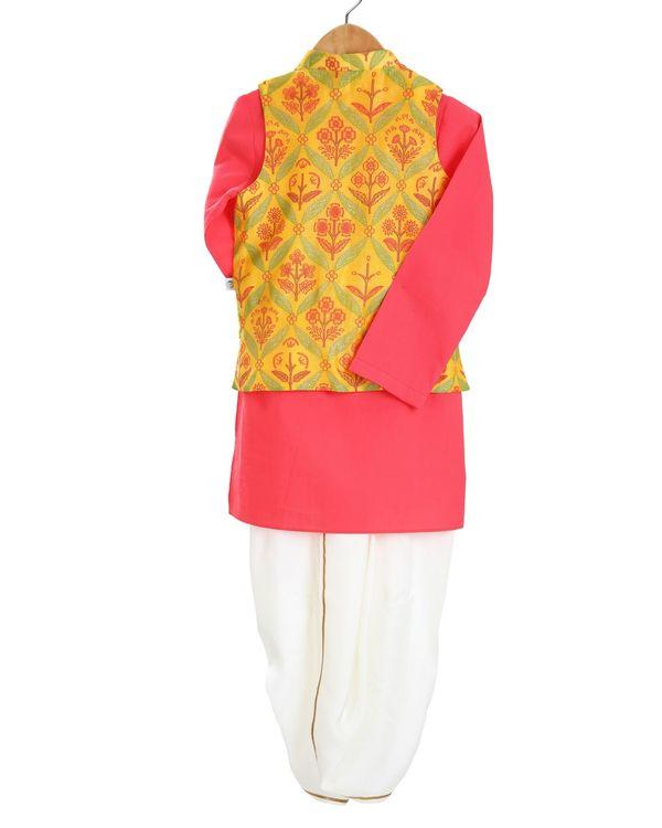 Red kurta and saffron printed jacket with white dhoti pants - set of three 1