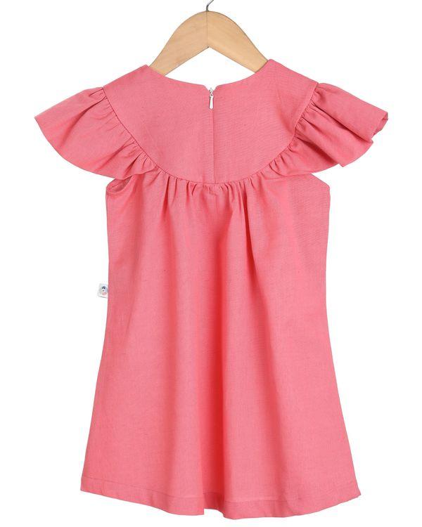 Fuchsia yoke embroidered dress 1