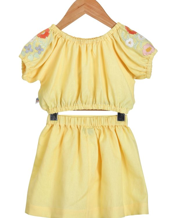 Yellow embroidered crop top and skirt - set of two 1