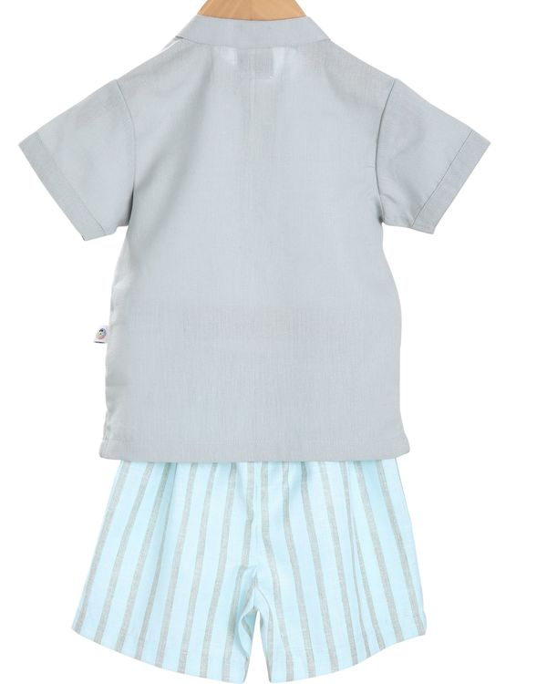 Grey shirt and sky blue striped bermudas shorts - set of two 1