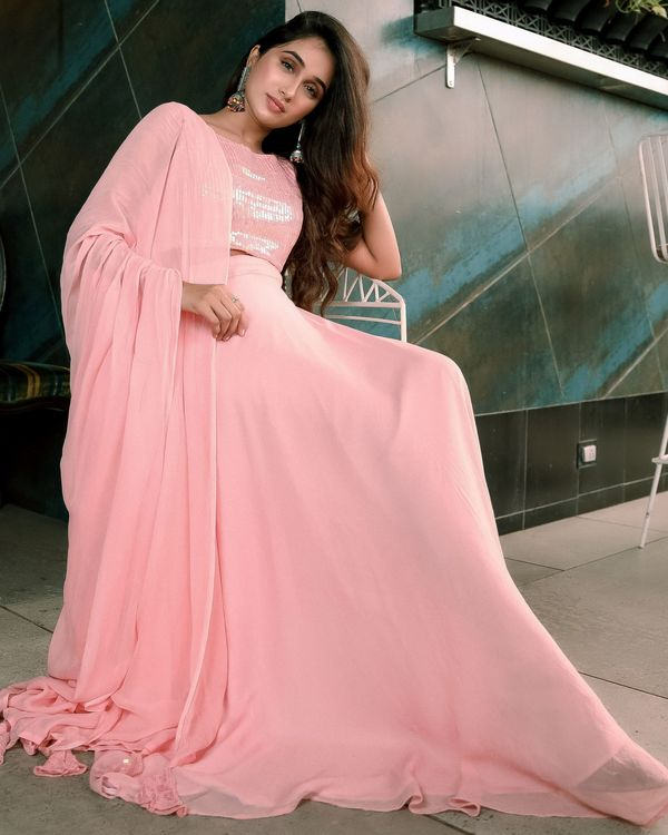 Pink sequined crop top and georgette flared lehenga with dupatta - set of three 2
