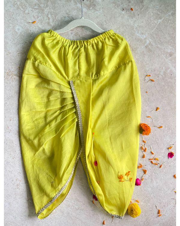 Off white banarasi sherwani with dhoti pants - set of two 2