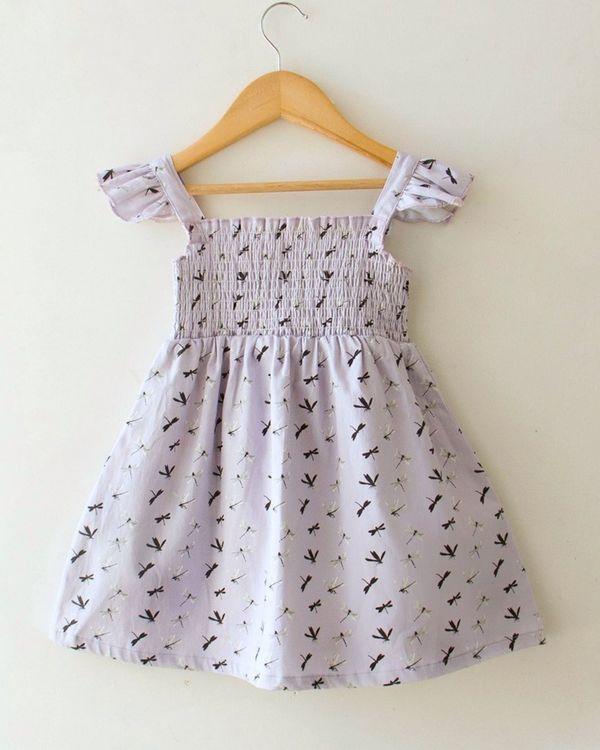 Lavender dragonfly smocked dress 1