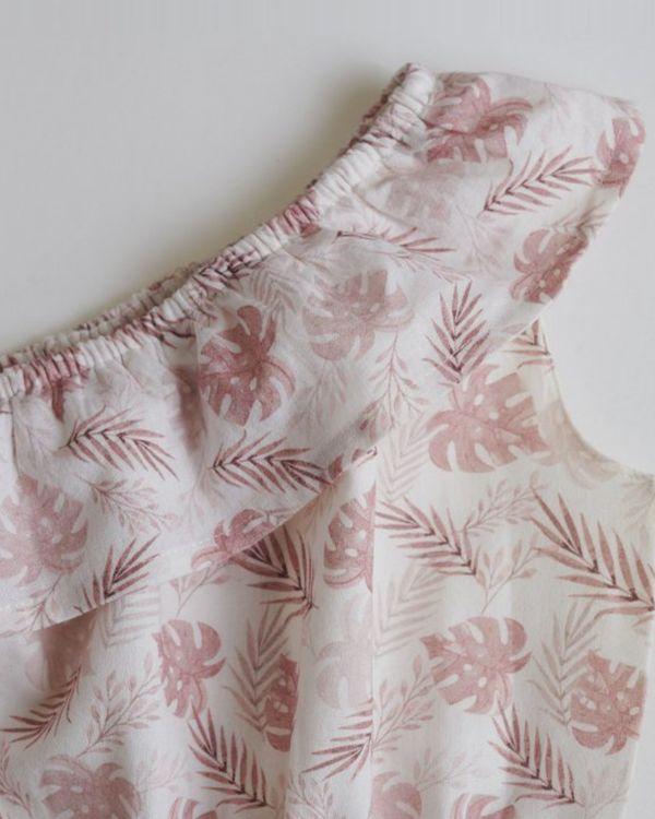 Pink printed tropical romper 2