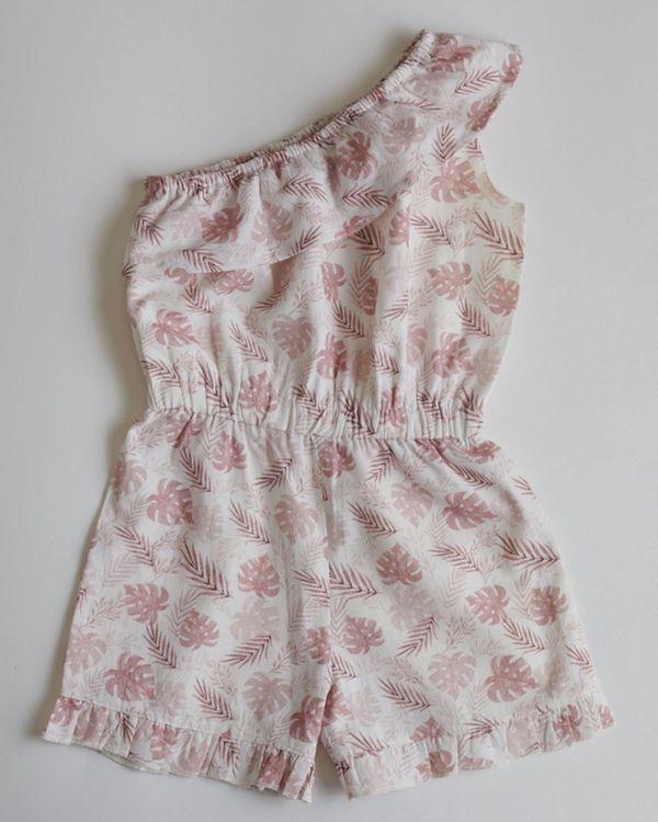 Pink printed tropical romper 1