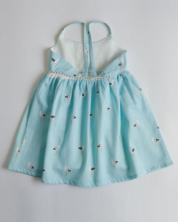 Blue seagull printed dress 2