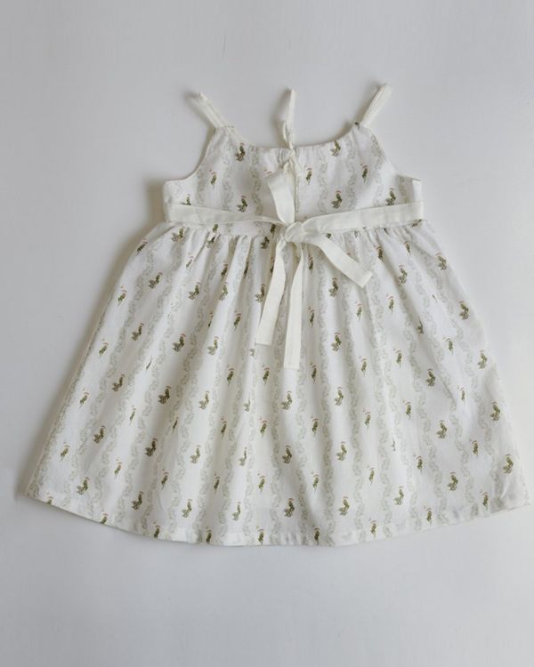 White printed tie-up dress 2