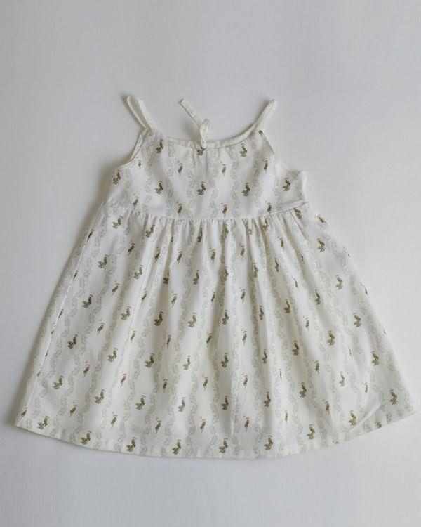 White printed tie-up dress 1