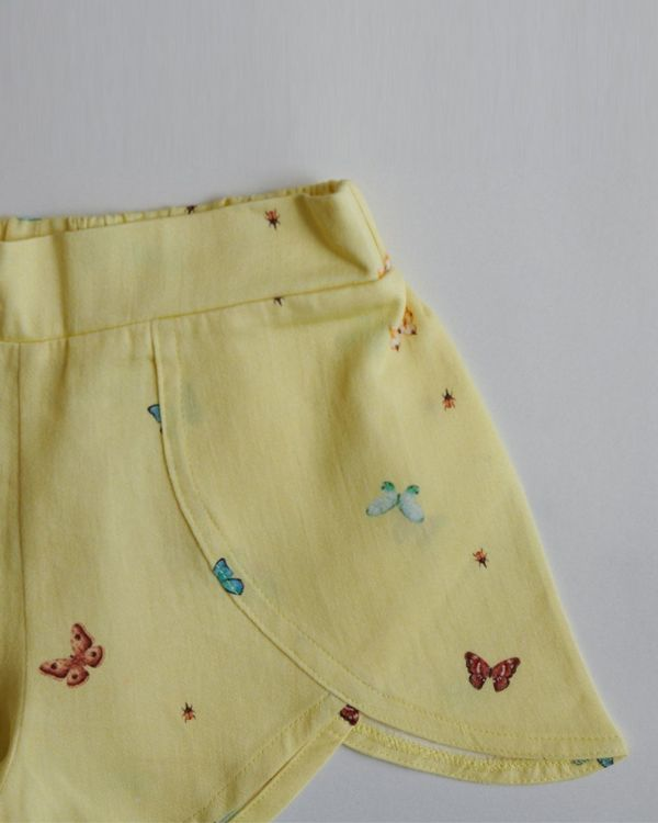 Yellow butterfly printed shorts 1