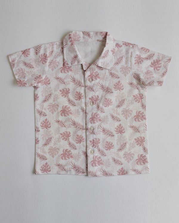 Pink tropical printed shirt 1