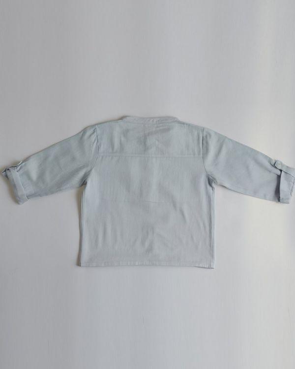 Pastel blue pin-tuck yoke shirt 2