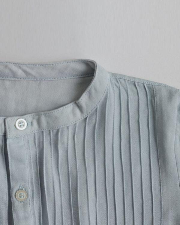 Pastel blue pin-tuck yoke shirt 3