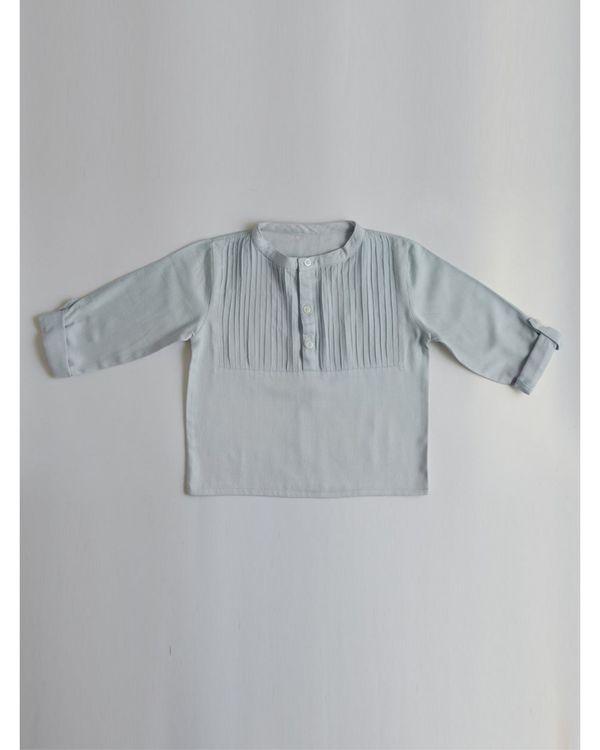 Pastel blue pin-tuck yoke shirt 1