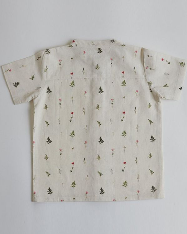 Beige ferns and rose printed shirt 2