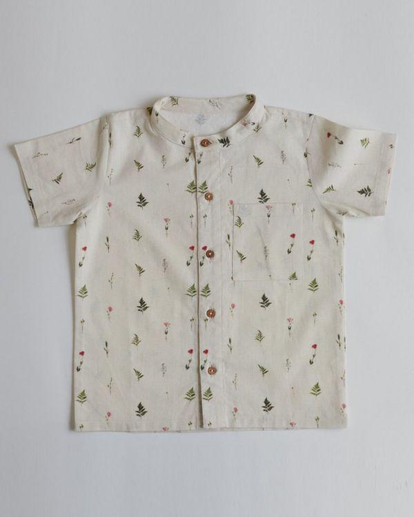 Beige ferns and rose printed shirt 1