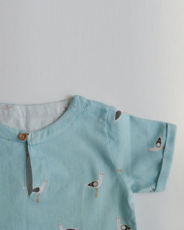 Blue seagull printed shirt 2