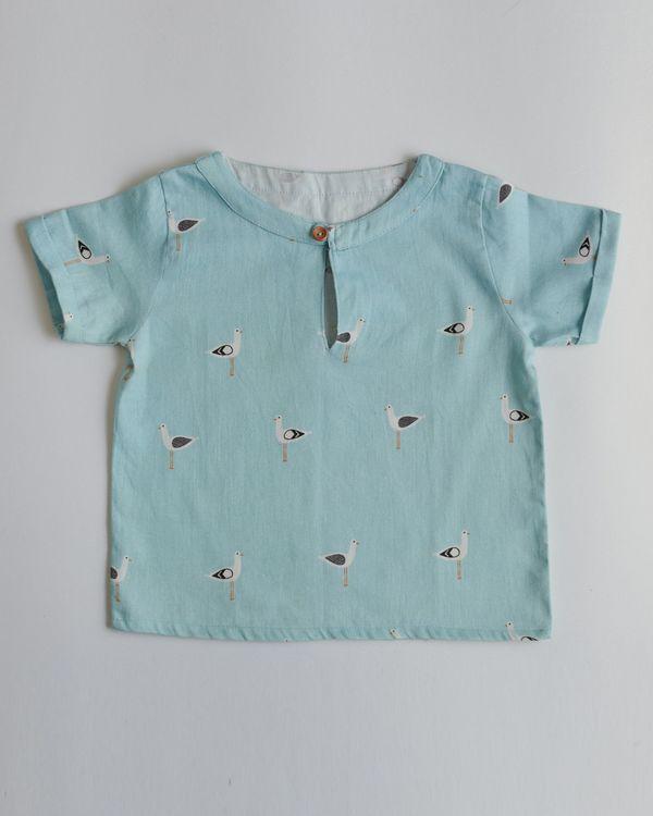 Blue seagull printed shirt 1
