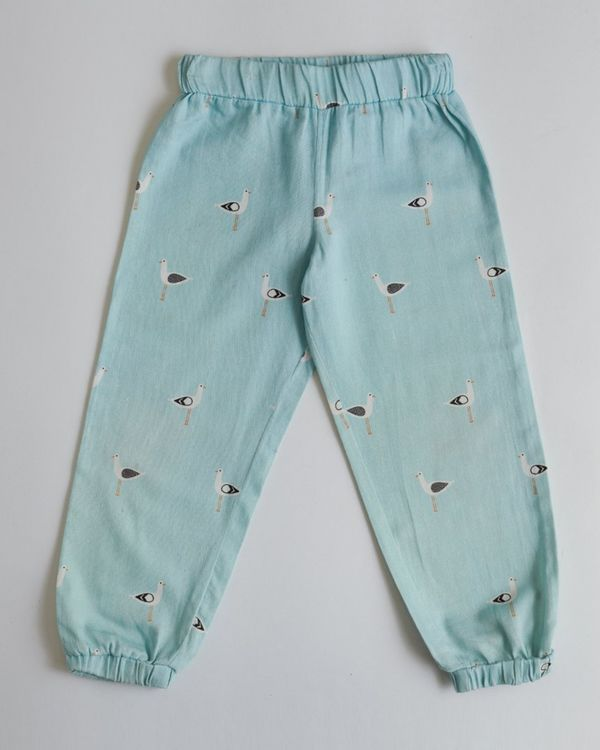 Blue seagull printed joggers 1