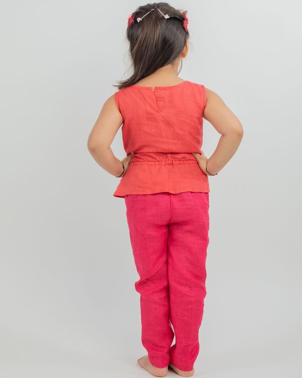 Linen rust top and pink pants - set of two 1