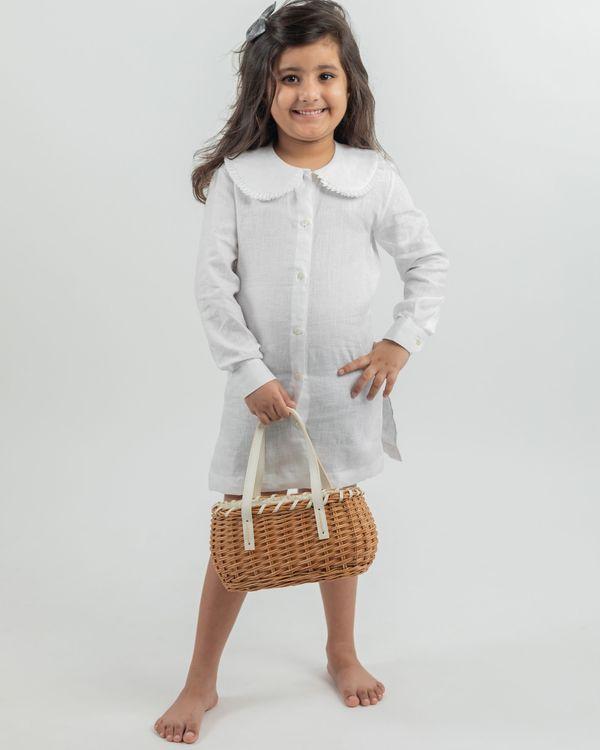 White linen peter pan collar dress 1