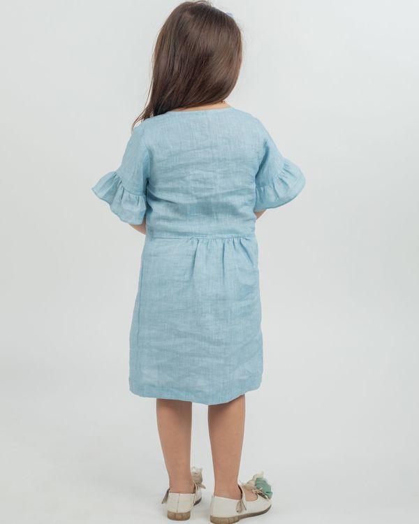 Powder blue linen frilled sleeve dress 2