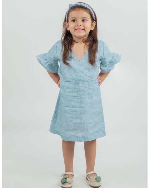 Powder blue linen frilled sleeve dress 1