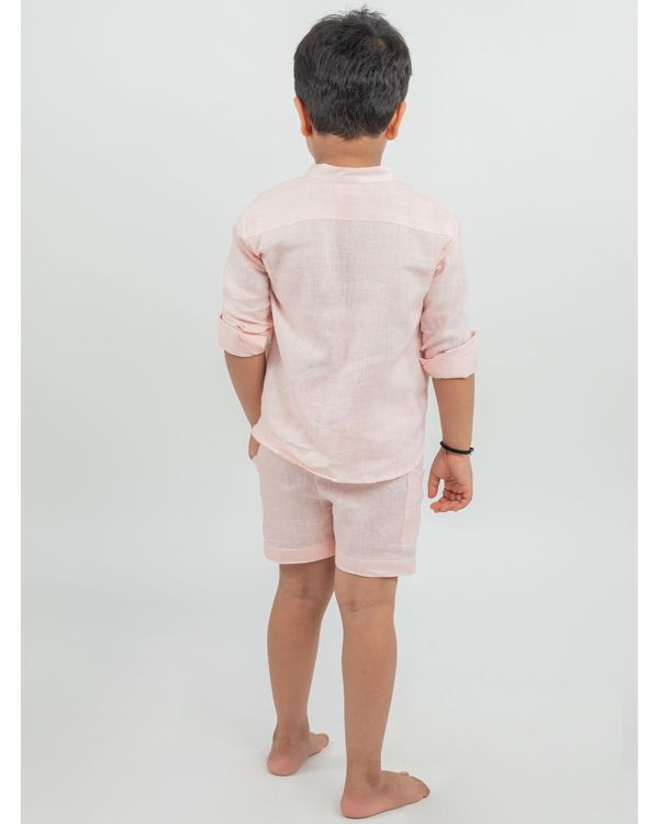 Peach linen shirt and shorts - set of two 2