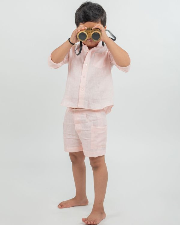 Peach linen shirt and shorts - set of two 1