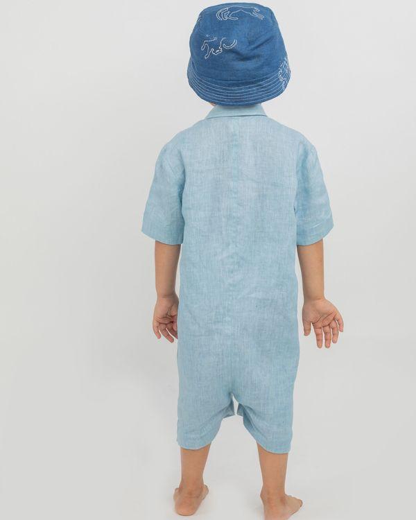 Blue linen playsuit 2