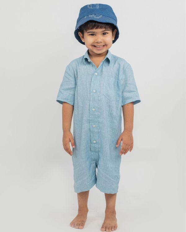 Blue linen playsuit 1