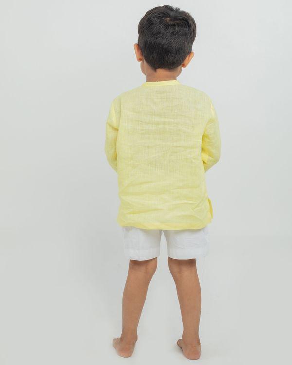 Yellow linen kurta and white shorts - set of two 2