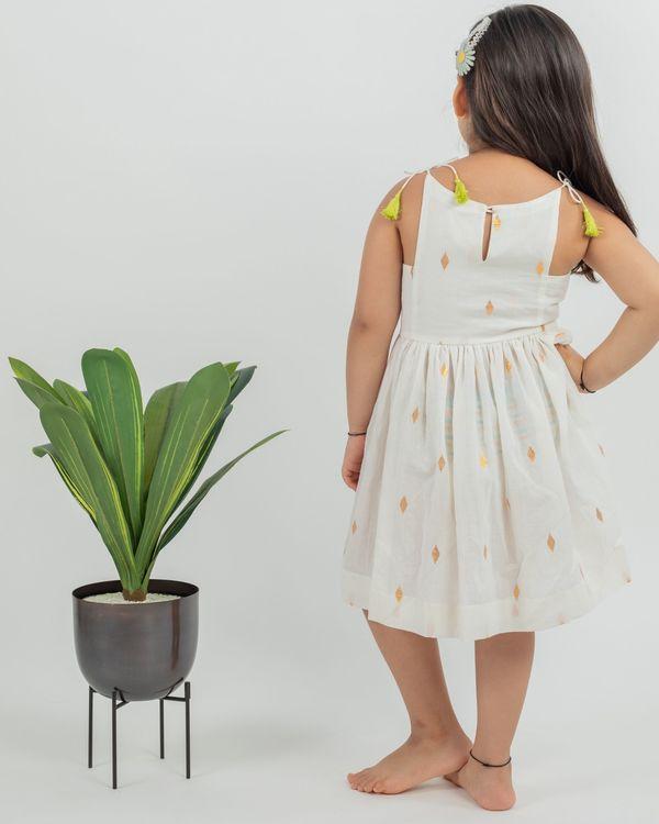 Off white zari boota cotton dress 3