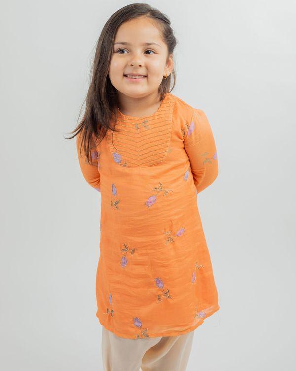 Orange digital print kurta and beige dhoti pants - set of two 1