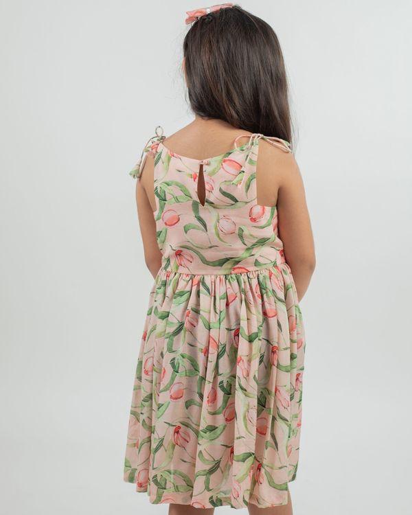 Beige floral printed knot dress 2