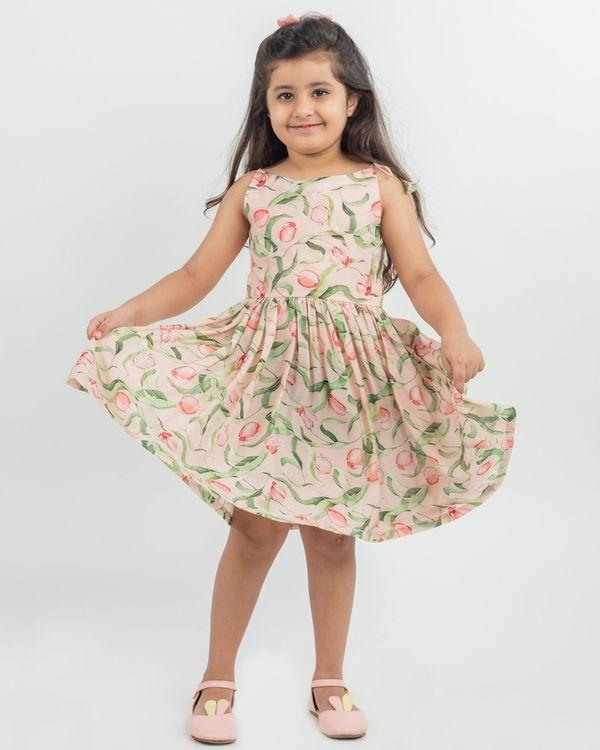 Beige floral printed knot dress 1