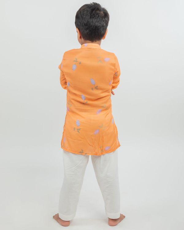 Orange digital printed hand work kurta and white pyjama - set of two 2