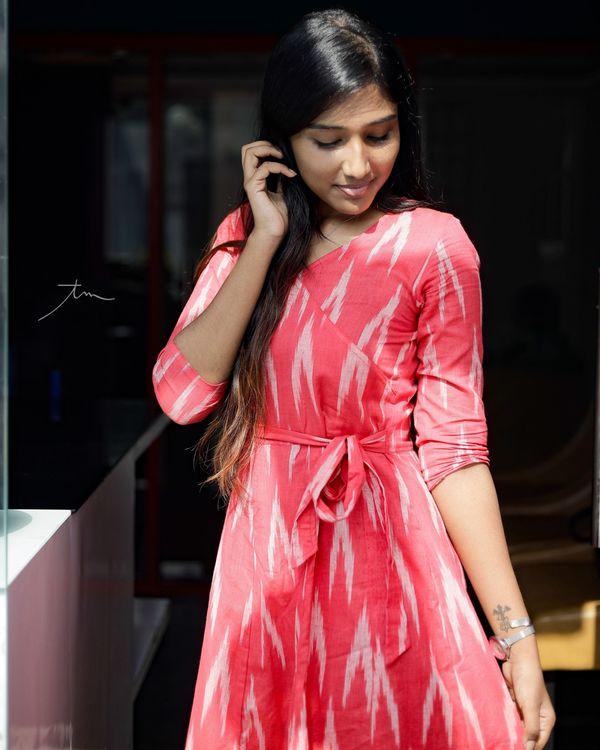 Pink ikkat angrakha dress 2