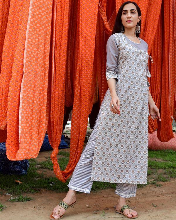 Grey hand block printed angrakha kurta and pants - set of two 1