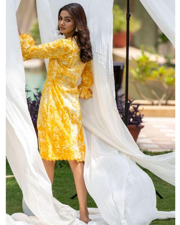 Sunshine yellow mirror work shirt dress 2
