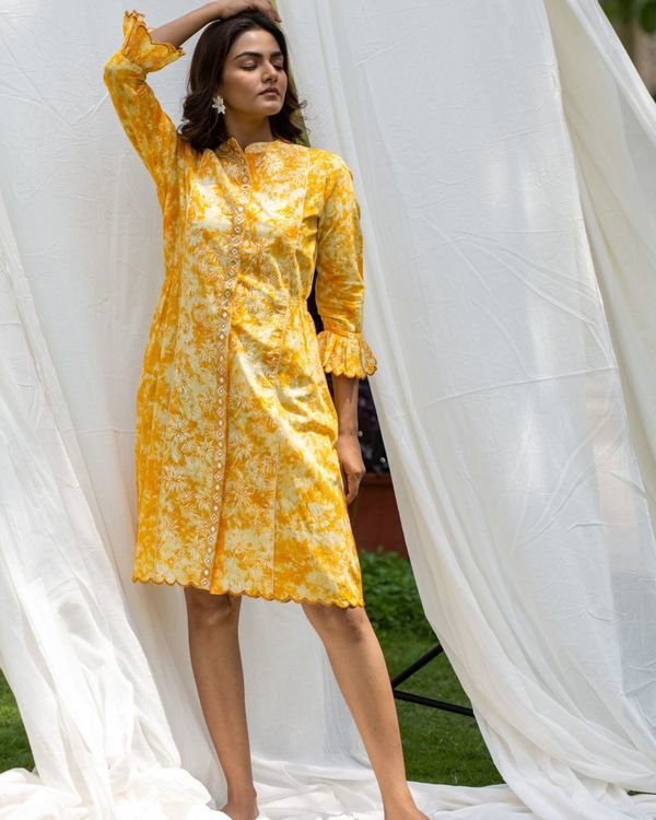 Sunshine yellow mirror work shirt dress 1