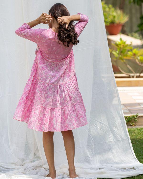 Blush pink tiered flare dress 2