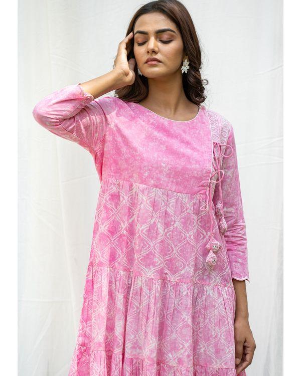 Blush pink tiered flare dress 1