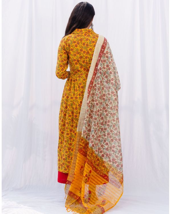 Mustard floral jaal kurta and red palazzo with pure cotton chanderi hand block printed duppatta - set of three 4