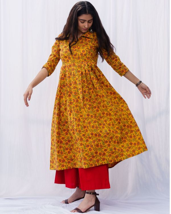 Mustard floral jaal kurta and red palazzo with pure cotton chanderi hand block printed duppatta - set of three 3