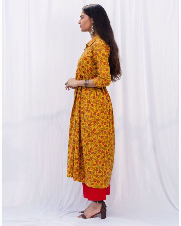 Mustard floral jaal kurta and red palazzo with pure cotton chanderi hand block printed duppatta - set of three 2