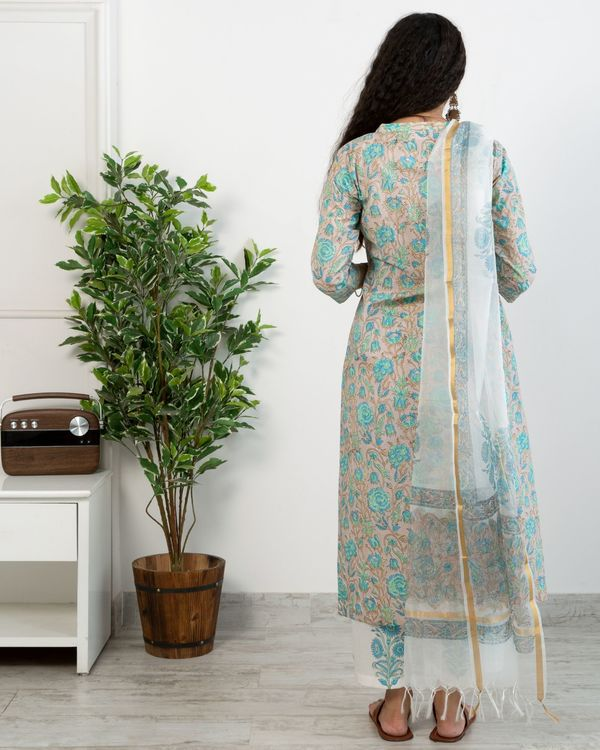 Pastel blue floral anghrakha kurta and white printed pants with chanderi handblock printed dupatta - set of three 4