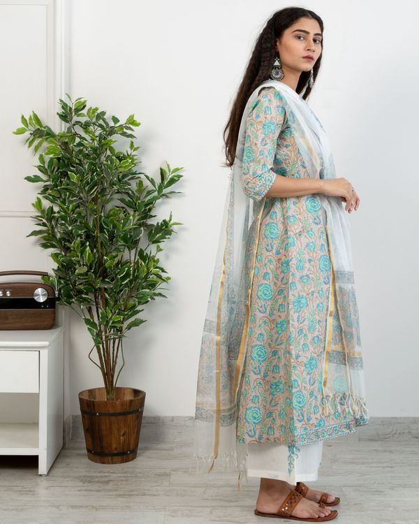 Pastel blue floral anghrakha kurta and white printed pants with chanderi handblock printed dupatta - set of three 3