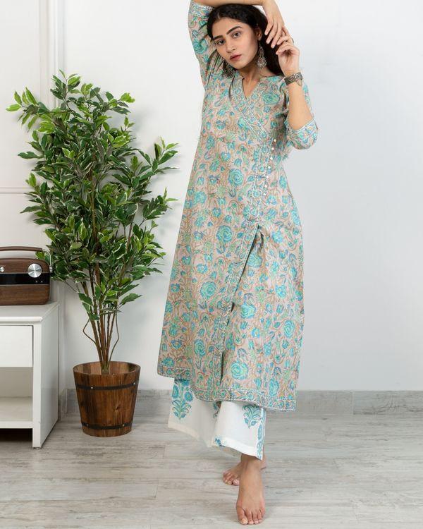 Pastel blue floral anghrakha kurta and white printed pants with chanderi handblock printed dupatta - set of three 2