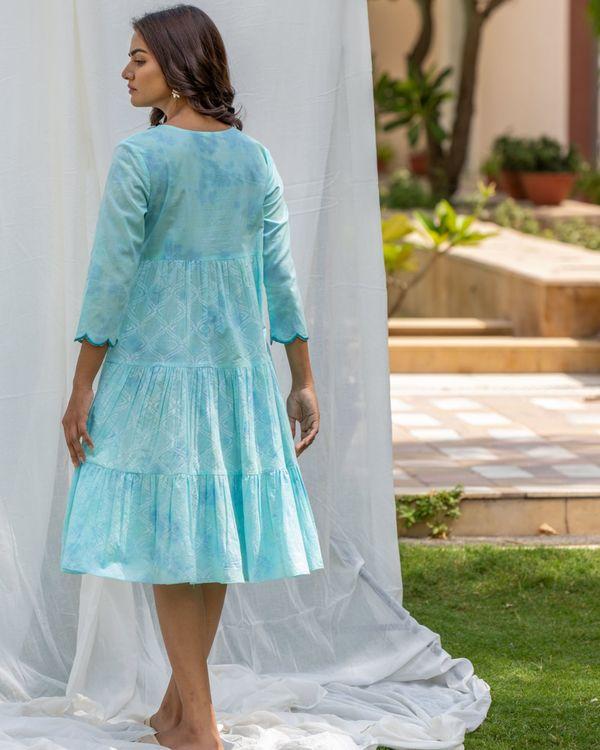 Aqua blue tiered flare dress 2