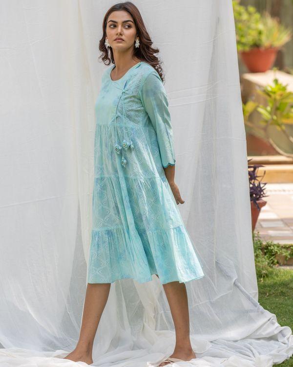 Aqua blue tiered flare dress 1